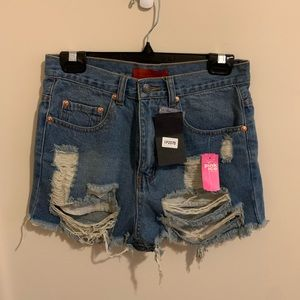 NWT Pink Ice High Waist Distressed Shorts